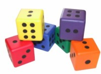 Set 6 Foam Rainbow Dice